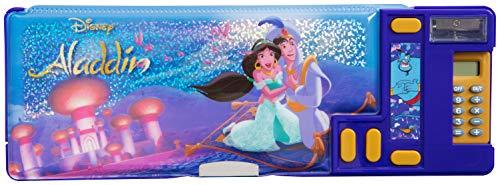 Trousse Enfant Disney Avec 3 Compartiments Multi-usages Calculateur Et Taille Crayon Inclus Format Long 26 cm Plastique Rigide Avec Princesse Jasmine et Aladdin