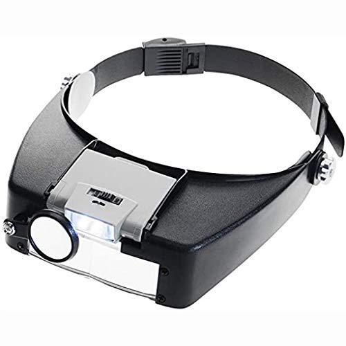 Vergrößerungsglas Stirnband Lupe Hände Frei Kopflupe Lupenbrille LED,verstellbare Lampe,Juwelierlupe Lesehilfe, optisches Glas, Dual-Linse, Lupe für chirurgische Beauty-Uhren, Reparaturarbeiten, Präzi
