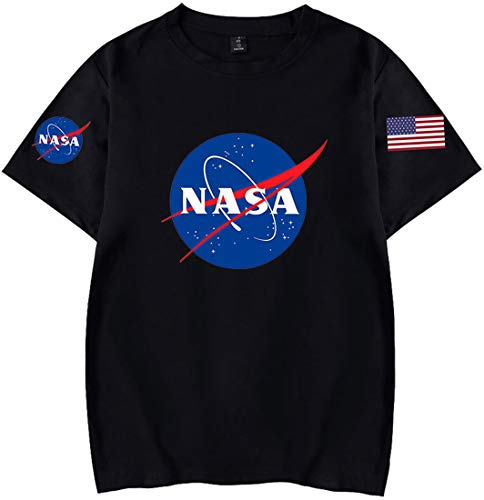 OLIPHEE Maglietta a Tinta Unita con Fascia da Braccio di NASA T-Shirt per Ragazzi e Uomo Hei XL