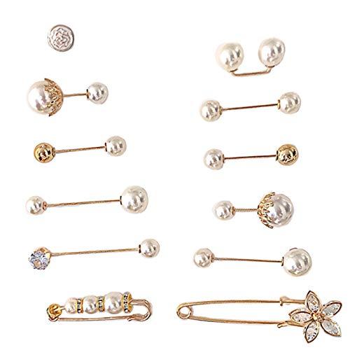 Broche de perlas con diseño de flor de cristal antiluz para suéter, chal, broche de diamantes de imitación, decoración de alfileres de solapa para mujeres y niñas