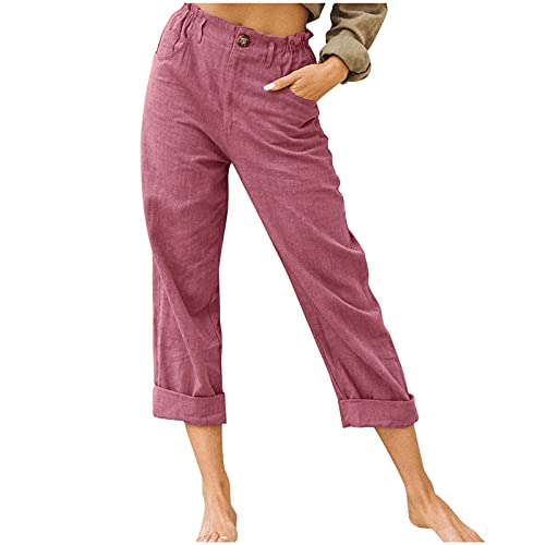 Ghemdilmn Pantalones de algodón y lino para mujer, elásticos, para el tiempo libre, con cordón, pantalones vaqueros estrechos, pantalones vaqueros cortos, de algodón y lino, cintura elástica Vino XL