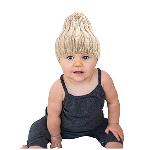 YXIU Kinder Strickmütze Beanie Hut, Mädchen Wintermütze Jungen Mütze Warme Winter Strickmütze Outdoor Hats Beanie Mütze (Beige)
