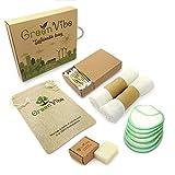 Set sostenibile: batuffoli di cotone riutilizzabili in bambù, sapone biologico, panno viso, germogli, sacchetto di lino - Set ecologico e senza plastica