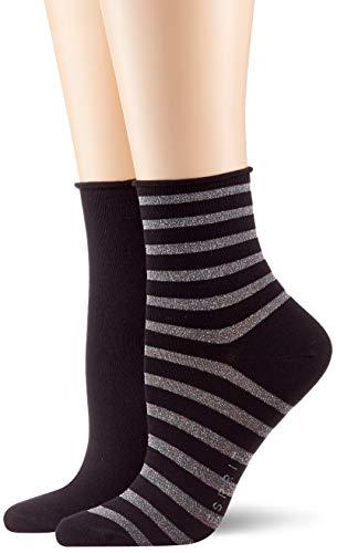 ESPRIT Damen Socken Luminous Stripe 2er Pack - Baumwollmischung, 2 Paare, Schwarz (Black 3000), Größe: 35-38
