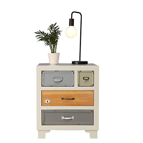 Soul hill nachtkastje massief hout beschilderd nachtkastje met 4 laden, slaapkamer side nachtkastje retro zijkast meubelen opslag locker eindtafels (kleur: A)