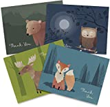 Twigs Paper - Woodland Animals Thank You Cards - Set of 12 Blank Cards (5.5 x 4.25 Inch) with 12 Envelopes - 100% EcoFriendly Stationery - Made In USA (6 Designs, 12 Cards Total)