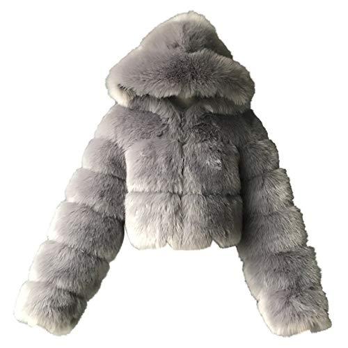 2021 Damen Mantel Plüschjacke Wintermantel Kurzmantel Frau Short Faux Hooded Warm Furry Spleißjacke Langarm Oberbekleidung(Grau,4X-Large)