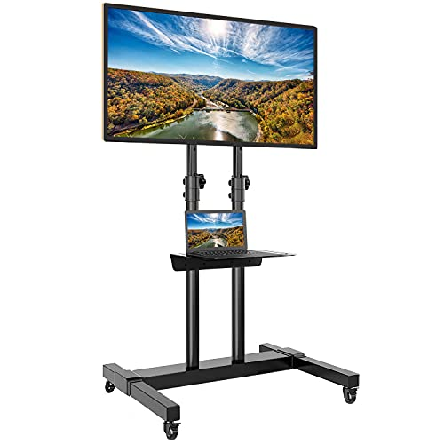 Rfiver Mobile TV Stand Rolling Cart with Tilt Mount/Locking Wheels for 32-65 Inch Flat Screen/Curved TVs up to 110lbs, Portable Floor Stand with Laptop Shelf, Height Adjustable, Extra Tall