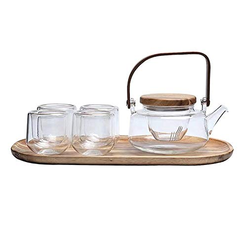 Glass Teapot Set,600ml Tea Pot with Glass Infuser,Teapot with Strainer for Loose Tea, Safe On Stovetop, Tea Set with Bamboo Handle(4 Cups)