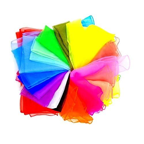 JZK 20 Mehrfarben Jongliertücher Square Dance Jonglieren Schals für Kinder Kinder Mädchen Party-Aktivitäten Zubehör DekorationTanz Schals Baby-Sensor-Schals