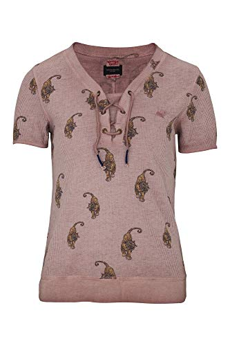 khujo Damen Shirt ANNIARA mit Tigern bedrucktes Kurzarmshirt in Waffel-Struktur mit V-Ausschnitt und Schnürung