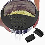 Salbree Silicone Snap Vegetable and Ground Beef Grease Strainer fits the 6qt Instant Pot and Snaps to the 6 quart Instapot Pressure Cooker Inner Pan Small Mitts Set Included (6qt, black)
