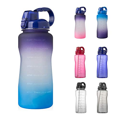 YIREN Half Gallon Water Bottle with Straw and Motivational Time Marker Large Capacity Leakproof BPA Free Fitness Sports Water jug