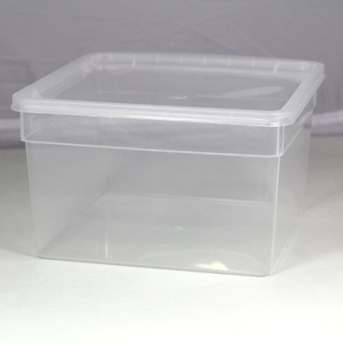 BraPlast Dose 3,0 Liter 19,5 x 19,5 x 11,0 cm - transparent mit transparentem Deckel/Kunststoff Stapelbox