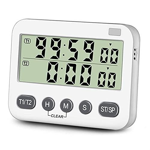 ZHIER Despertador De Cocina, Temporizador Dual con Volumen de Alarma Ajustable de 3 Niveles Encendido Apagado Cambiar la Cuenta Regresiva de la Cocina Digital/Subir el cronómetro (Color : White)