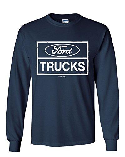 Distressed Ford Trucks Long Sleeve T-Shirt F150 American Pick Up Tee Navy Blue L