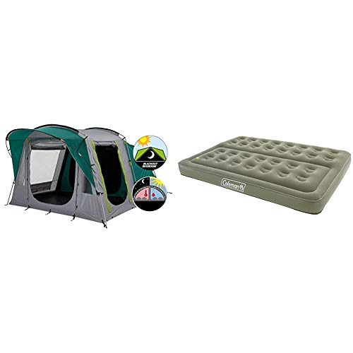 Coleman Tent Oak Canyon 4, 4 Person Family Tent with BlackOut Bedroom Technology & Comfort Double Flocked Surface Inflatable Camp Air Bed - Green, 188 x 137 x 22 cm