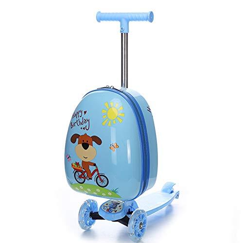 HLSUSAN Kinderscooter Reisekoffer Roller Trolley Handgepäck Rollkoffer Tretroller Kindergepäck Kinder Koffer mit 2 Rollen für Kinder Studenten,02
