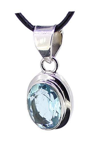 budawi® - Blauer Topas facettiert in 925er Sterling Silber, blauer Edeltopas Anhänger