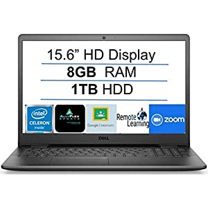 2021 Newest Dell Inspiron 15 Business Laptop Computer: 15.6″ HD Display, Intel Dual-Core Celeron N4020(Up to 2.8GHz), 8GB RAM, 1TB HDD, WiFi, Bluetooth, HDMI, Webcam, Windows 10 S, Gift Mousepad