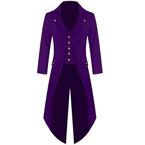 mioim Herren Frack Steampunk Gothic Jacke Vintage Viktorianischen Langer Mantel Kostüm Cosplay Kostüm Smoking Jacke Uniform Lila M