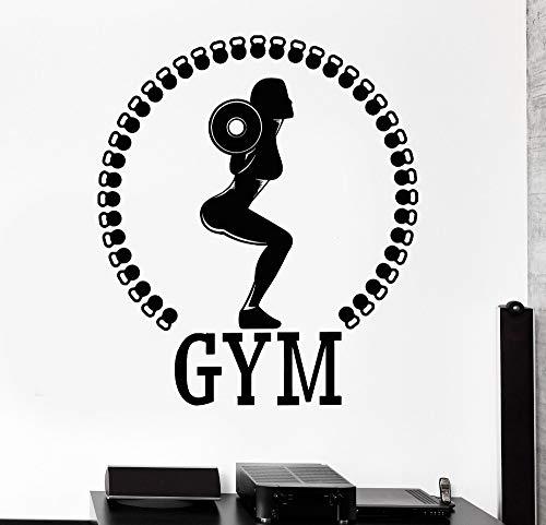 70x56cm, Streich Sticker, Sport Squat Frau Mädchen Gym Bodybuilding Pvc Fitness Center Gym Kunstwerk Inspirierend Zitate Bild Schlafzimmer Abstrakt Raummalerei