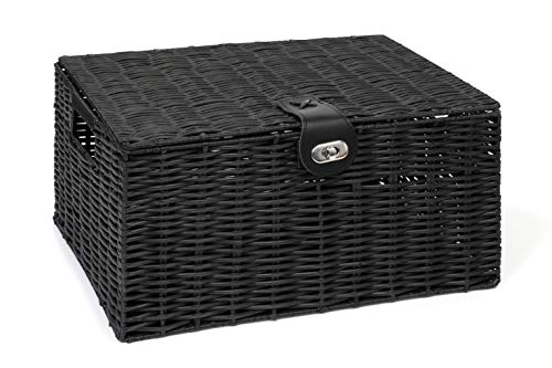 Arpan Large Resin Woven Storage Basket Box with Lid & Lock - Black