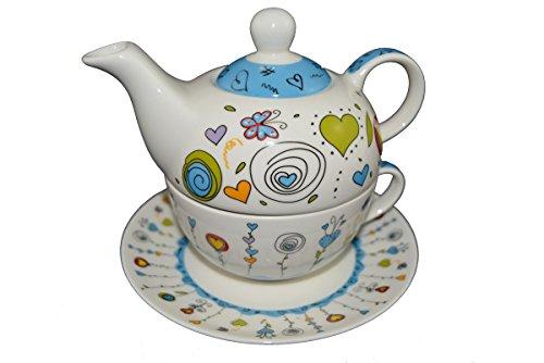 G. Wurm Tea for one Set Teekanne Porzellan mit Tasse und Untertasse in Geschenkbox