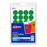 AVERY Print/Write Self-Adhesive Removable Labels, 0.75 Inch Diameter, Green, 1008 per Pack (05463)