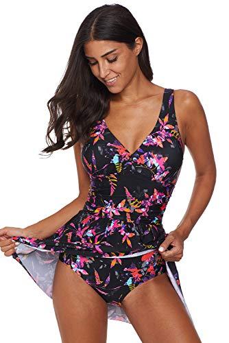 Swimsuits for Women │Flowy One Piece Swimdress Lace Overlay│Bathing Suits Tankini Sports Swimwear (Multicolor-411025-22, Medium (US 8-10))