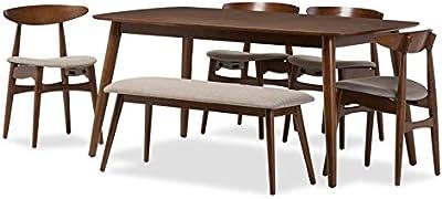Hawthorne Collection 6 Piece Dining Set in Medium Brown