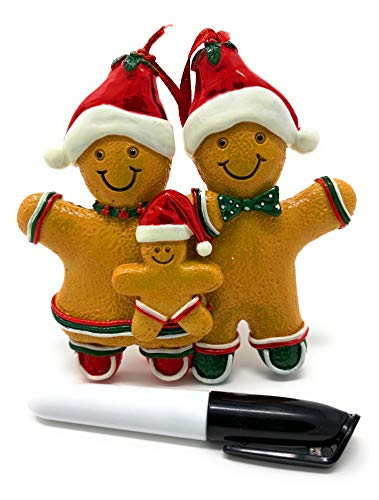 Gingerbread Man Ornaments Christmas Tree Ornament Mini Gingerbread Men Decorations Resin Kit Miniature Holiday Home Kitchen Decor | Black Pen Marker Included to Personalized Gingerman Family of 3