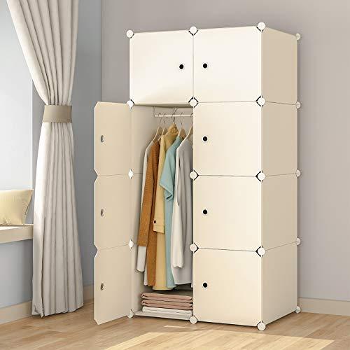 "KOUSI Portable Wardrobe Closets 14""x18"" Depth Cube Storage, Bedroom Armoire, Storage Organizer with Doors, 8 Cube, White"