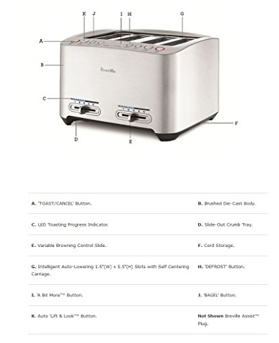 Product Image 3: Breville BTA840XL Die-Cast 4-Slice Smart Toaster, Stainless Steel