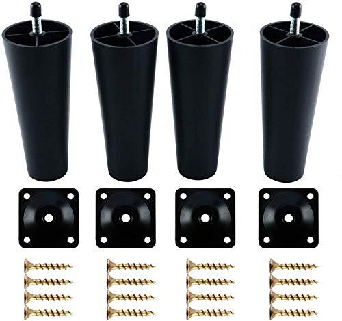 WANGXIAO Patas De Plástico para Sofá Paquete De 4 Patas De Sofá De Repuesto para Muebles Patas De Sofá con Placas De Montaje Tornillos Silla/Sofá/Armario Rosca M8 (métrica 8 Mm)