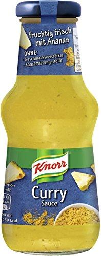 Knorr Schlemmersauce Curry (mild-cremig mit fruchtigen Ananasstückchen und Curry), 6er Pack (6 x 250 ml)