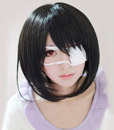 Eine weitere Mei Misaki Short Black Styled Hitzebeständige Haar Cosplay Kostüm Perücke + Optionale AugenklappePerücke und Augenklappe