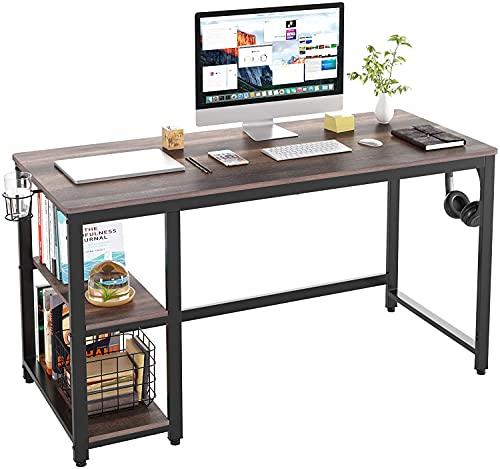Escritorio de Computadora Mesa de Ordenador con 2 Estantes Portavaso y Porta Auriculares Escritorio de PC para Estudio y Oficina Vintage Marrón Oscuro 140x60x75 cm