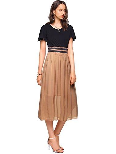 Amoretu Womens Short Sleeves Casual Classic Midi Dress for Summer Large