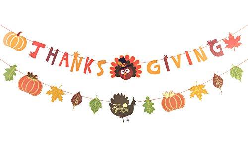 Sunbeauty Día de Acción de Gracias Guirnalda otoño decoración Turquía Bandera día de acción de Gracias Deco