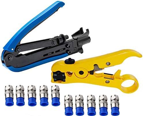 Elibbren Coaxial Compression Tool Coax Cable Crimper Kit Adjustable RG6 RG59 RG11 75 5 75 7 product image