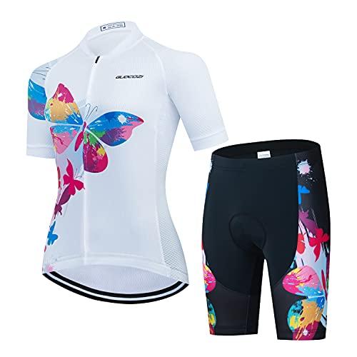 Donne Abbigliamento Manica Corta Ciclismo Set, Tuta da Bicicletta Estiva Traspirante Asciugatura Veloce Manica Corta + 3D Gel Pantaloni con Bretelle Imbottiti