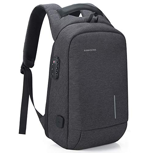 Lightweight Traveling Small Laptop Backpack, Kingsons Business Travel Computer Bag Slim Laptop Rucksack 13.3' with USB Charging Port Anti Theft Bag Water Resistant for 13.3-Inch Laptop bag(Dark Grey