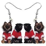 AdronQ Ohrringe Ohrstecker Ohrhänger Acryl Weihnachtskostüm Hund Mops Hund Ohrringe Drop Dangle Dekoration Schmuck