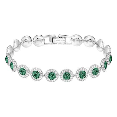 Swarovski Angelic Armband für Frauen, grünes Kristall, rhodiniert