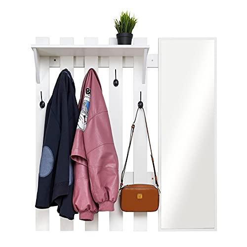 Meerveil Wandgarderobe mit Spiegel, Holz Garderobe mit 5 Haken Ablage Industriestil für Flur Eingangsbereich, 100 x 22 x 106 cm, Weiß