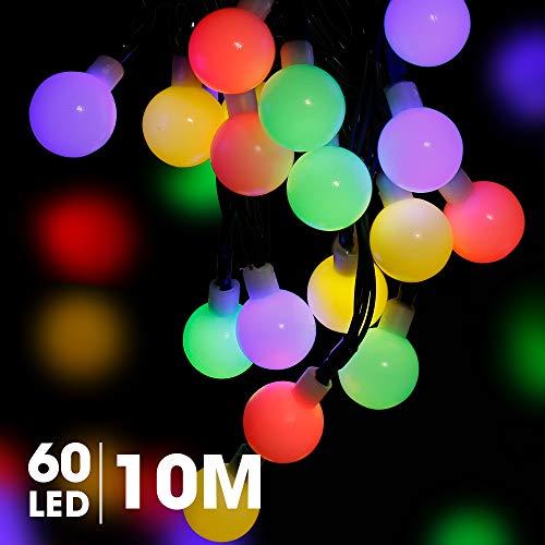 Romanda Solar Lichterkette Außen LED Lichterketten für Draußen Innenräume mit Kristall Kugeln Beleuchtung 10M 60 LEDs 8 Modi IP65 Wasserdicht für Balkon, Garten,Terrasse,Bäume,Hof, Hochzeiten, Party