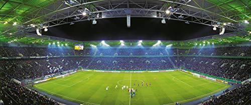 Blue-Letter Mönchengladbach Mitte Stadion Panorama - hochwertiger FineArtPrint (120 cm x 50 cm)