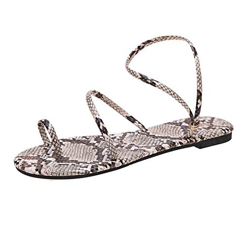 Damen Sandalen Schlangenhautmuster Bequeme Flache Beach Strandsandale Slingback Peep Toe Sommer Outdoor Sandals Freizeitschuhe(1-Grau/Gray,38)