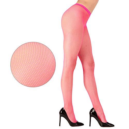 Widmann 47545 - Netzstrumpfhose Neonpink, Einheitsgröße für Damen, Kostüm, Verkleidung, Karneval, Mottoparty, Halloween